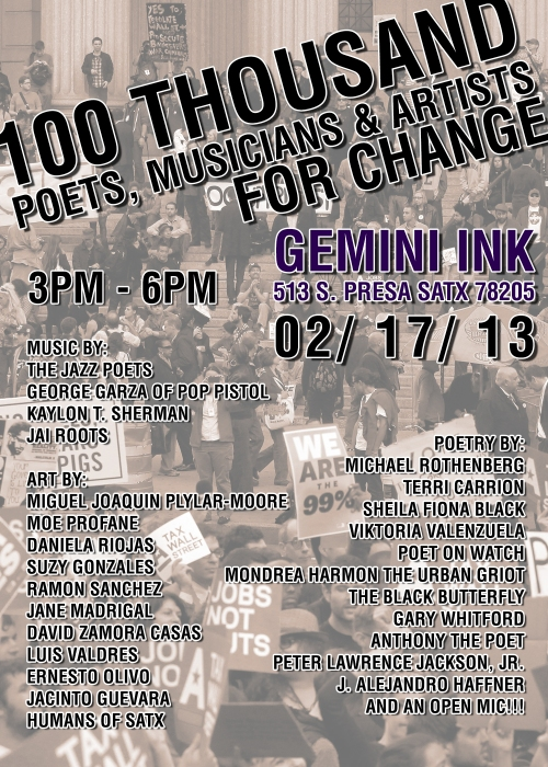 100 Thousand Poets, Artists, and Musicians for Change Event, SATX